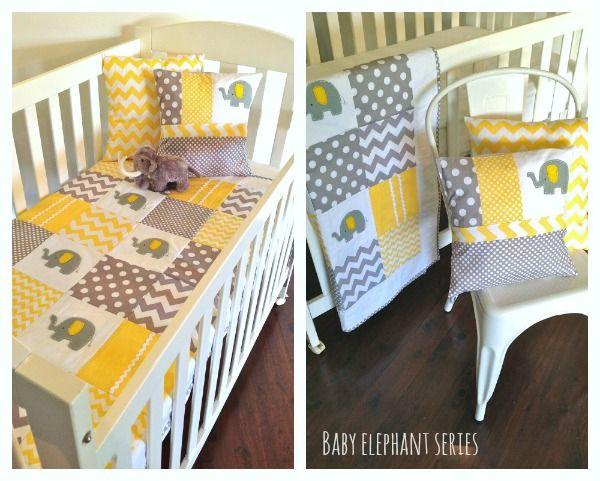 Elephant Yellow Crib Set By Alphabetmonkey Au