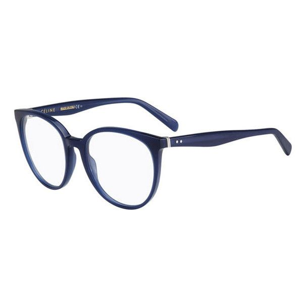 Celine CL 41348 Thin Mary M23 Eyeglasses ($211) ❤ liked on Polyvore featuring accessories, eyewear, eyeglasses, blue, blue glasses, celine glasses, anti reflective coating glasses, blue eyeglasses and anti reflective glasses