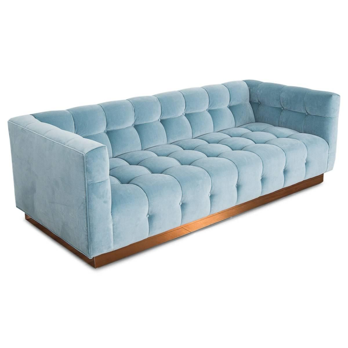 Meubles Accent Furniture Rockland Modern Style Delano Sofa Tufted In Capri Blue Velvet W Copper