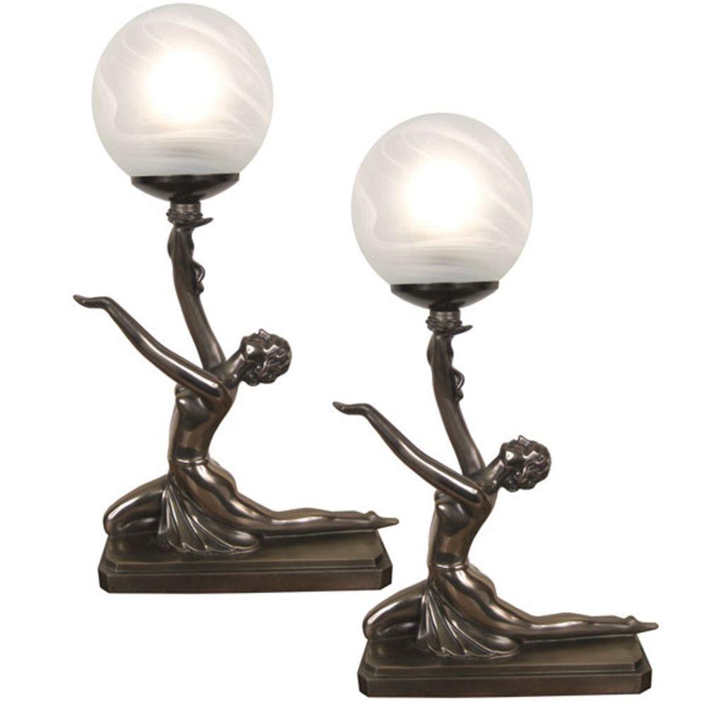 Pairtable lamps art deconouveau kneeling ball girl figurines pairtable lamps art deconouveau kneeling ball girl figurines glass shade bulb geotapseo Images