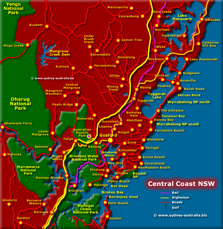 Map of the Central Coast NSW | Central coast, National parks ...