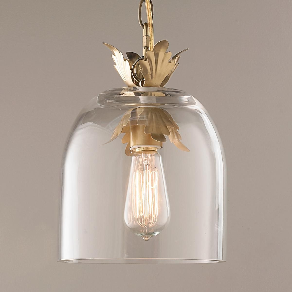 Clear Glass Pendant Lights For Kitchen Island Acanthus And Clear Glass Dome Pendant Light Traditional Islands