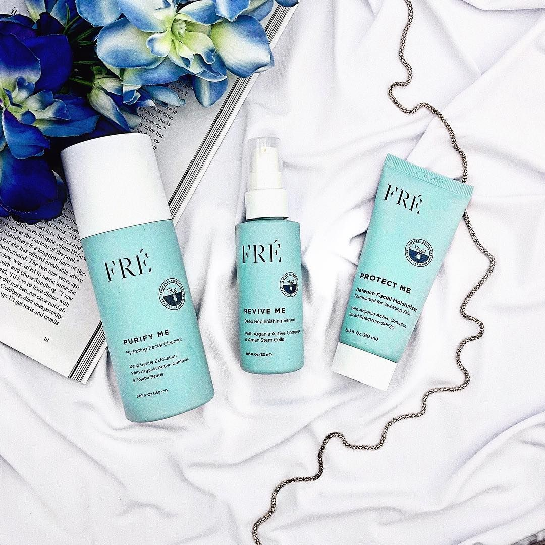FRE skincare for people who work out, sweaty skin. Light