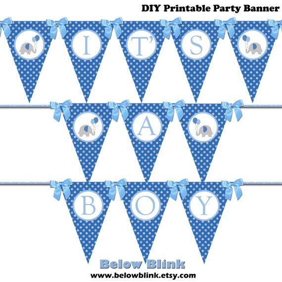 It\u0027s a Boy Banner Blue Printable Pennant Banner by BelowBlink DIY - pennant banner template