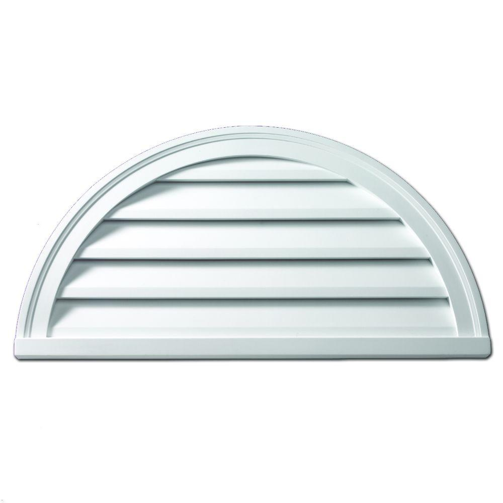 Fypon 24 In X 12 In Half Round White Polyurethane Weather Resistant Gable Louver Vent Fhrlv24x12 The Home Depot Louver Vent Gable Vents Window Coverings