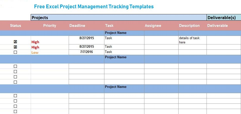 Free Excel Project Management Tracking Templates Excel