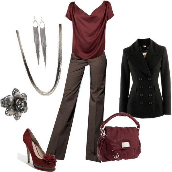Work - Maroon, created by staceedawn on Polyvore