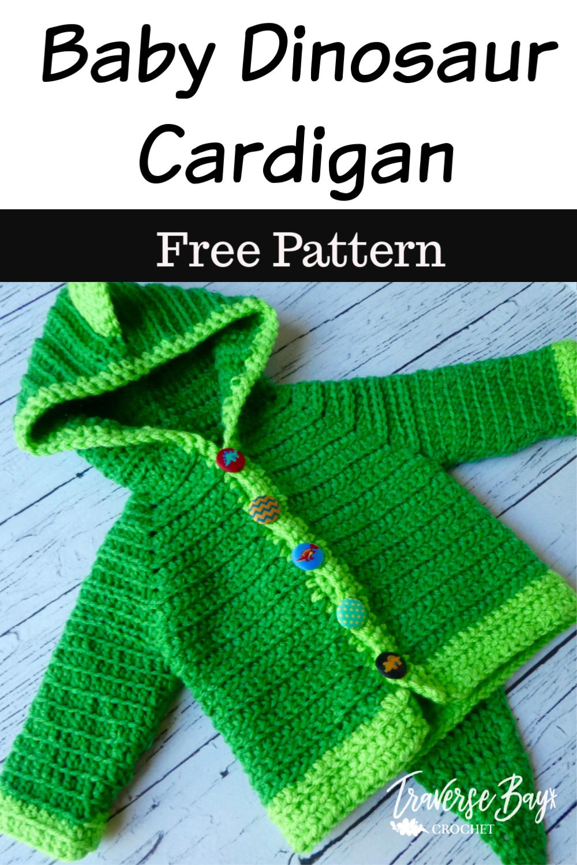 Dinosaur Baby Crochet Cardigan - #crochetbabycardigan