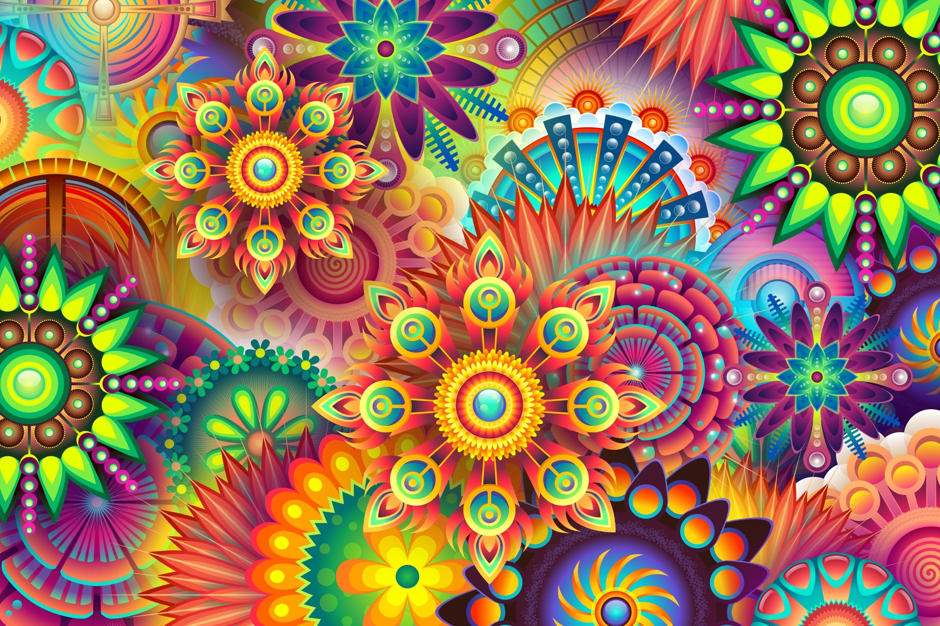 Colorful 3000x2000 Psychedelic Abstract Wallpaper