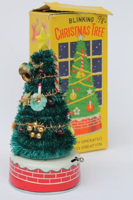 50s japan vintage blinking xmas tree battery operated christmas toy - Battery Operated Christmas Trees