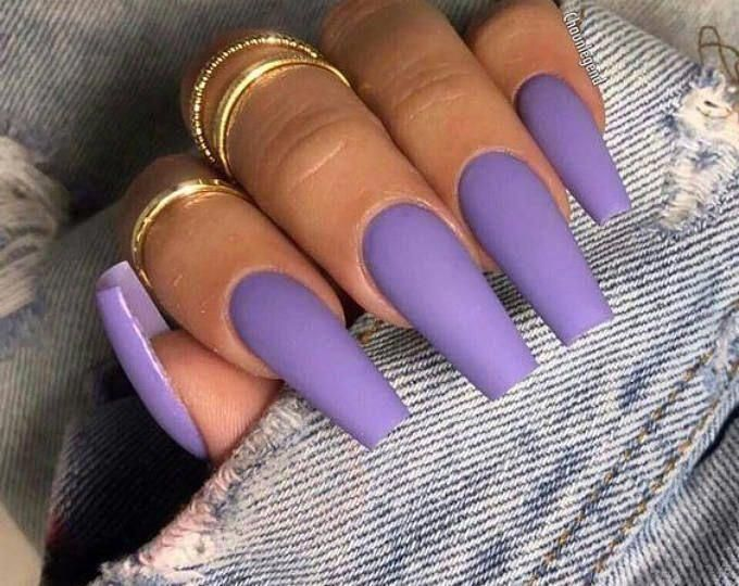 20 Pieces Lavender Press On Coffin Nails   Etsy