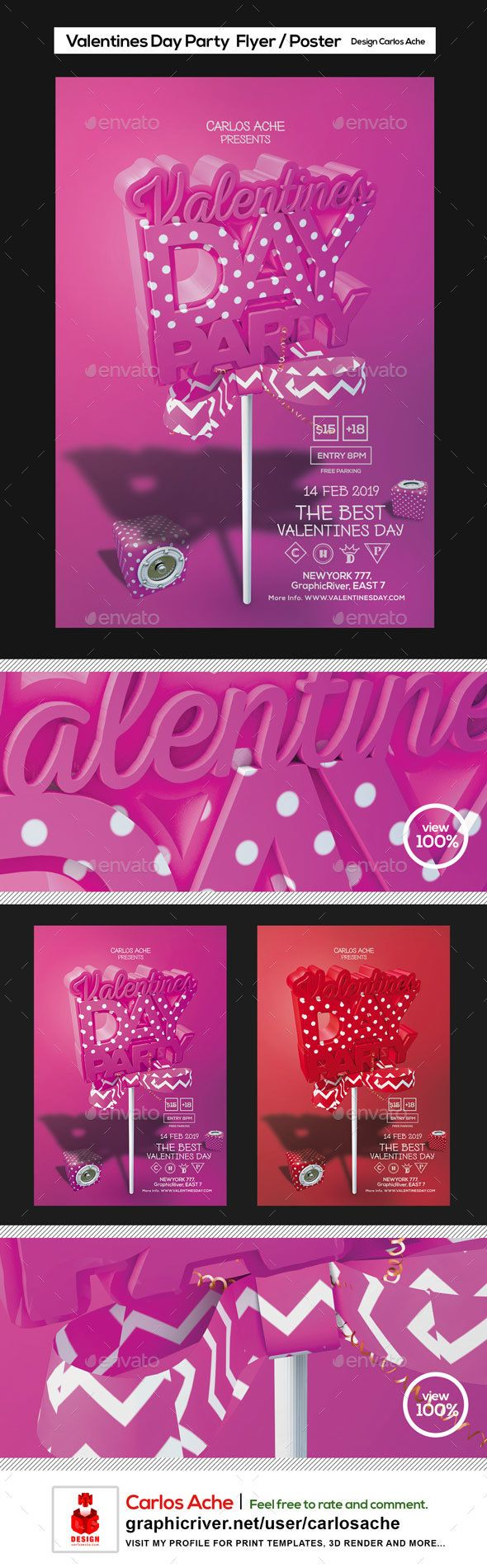 Valentines Day Party Flyer and Poster Template