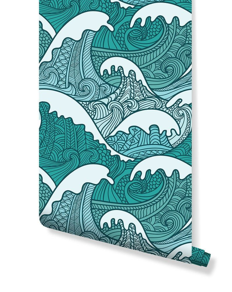 Temporary Self Adhesive Removable Wallpaper Traditional Etsy Wave Drawing Traditional Japanese Art Japanese Art