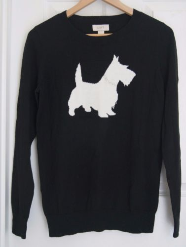 ANN-TAYLOR-LOFT-NWT-black-sweater-Scottie-dog-cotton
