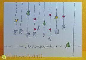 Weihnachten - Glückwunschkarte Weihnachten Advent handgemalt in. - ein Designerstück von blattwerkstatt bei DaWanda #kerstideeën