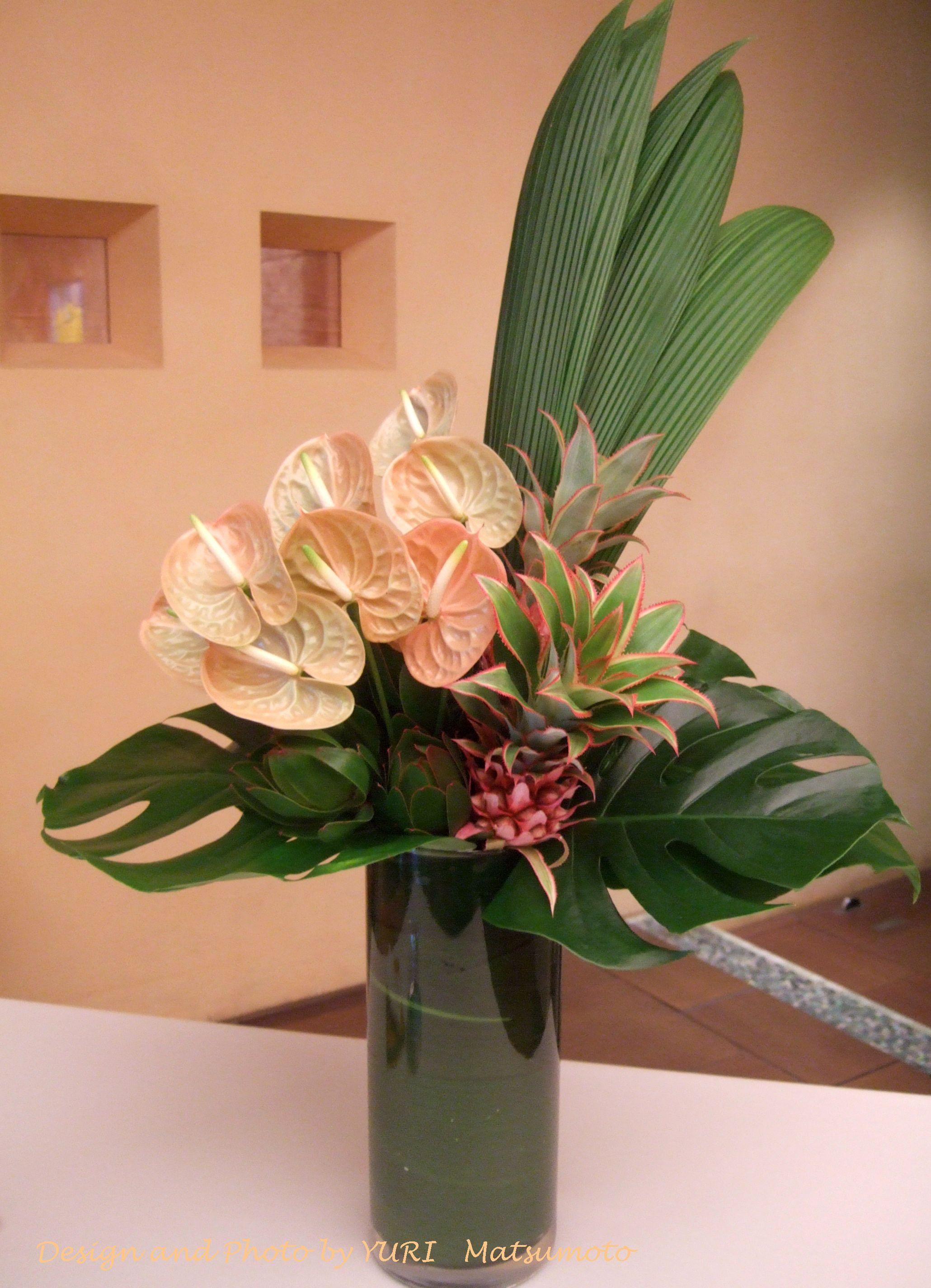 Anthurium And Pineapple Anthurium Arrangement Tropical Floral Arrangements Creative Flower Arrangements