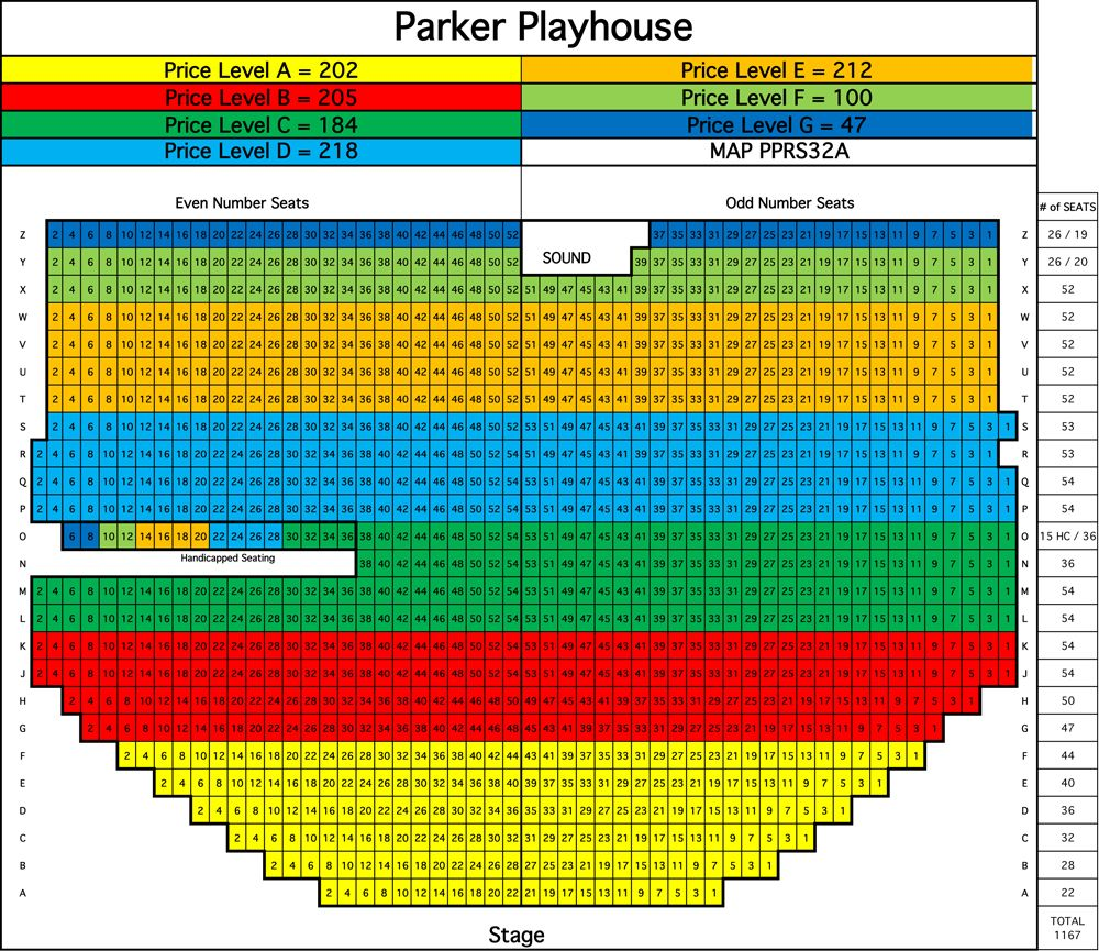 Parker Playhouse Play Houses Seating Charts Seating