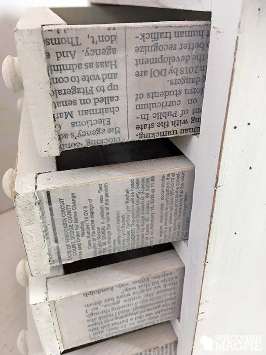 Schmales Sideboard Flur Decoupaged Newspaper On Drawers | Newspaper Crafts