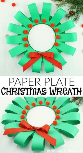 This paper plate Christmas wreath craft is super easy to make and is perfect for kids of all ages. Fun paper plate Christmas craft for kids. #christmascraftsforkids #christmascrafts #papercrafts #papercrafting #papercraftideas #papercraftsforkids #iheartcraftythings #christmaswreaths