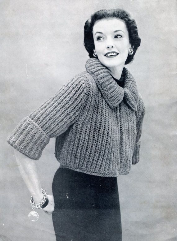 1950s Stylish Knit Sweater Pattern Bolero Or Shrug Pinterest
