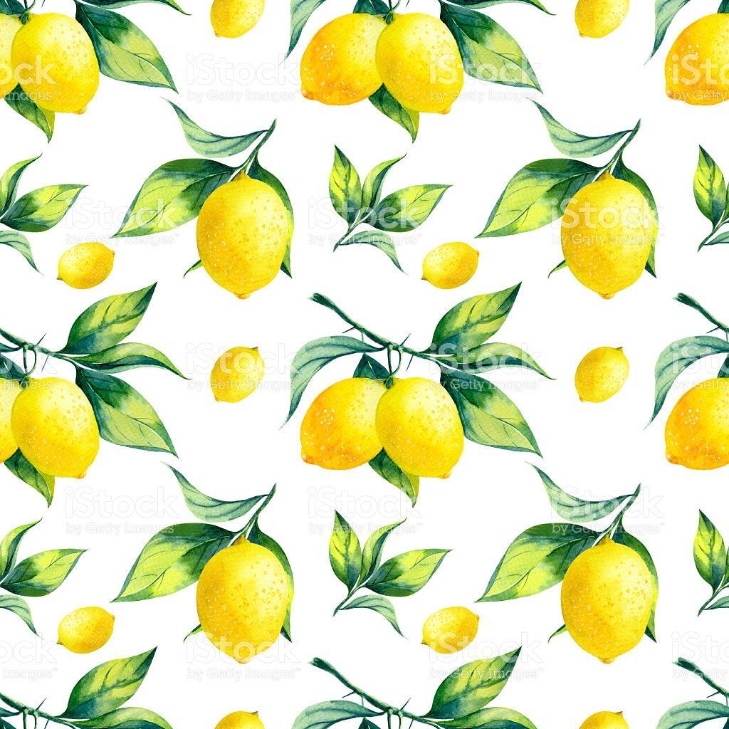 Watercolor seamless lemon pattern on white background