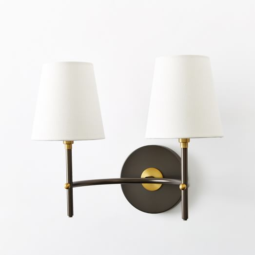 Merveilleux Arc Mid Century Sconce, Double, Antique Bronze/White Linen West Elm $129  Love This One!
