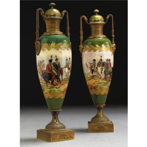 A PAIR OF GILT-BRONZE MOUNTED SEVRES STYLE PAINTED
