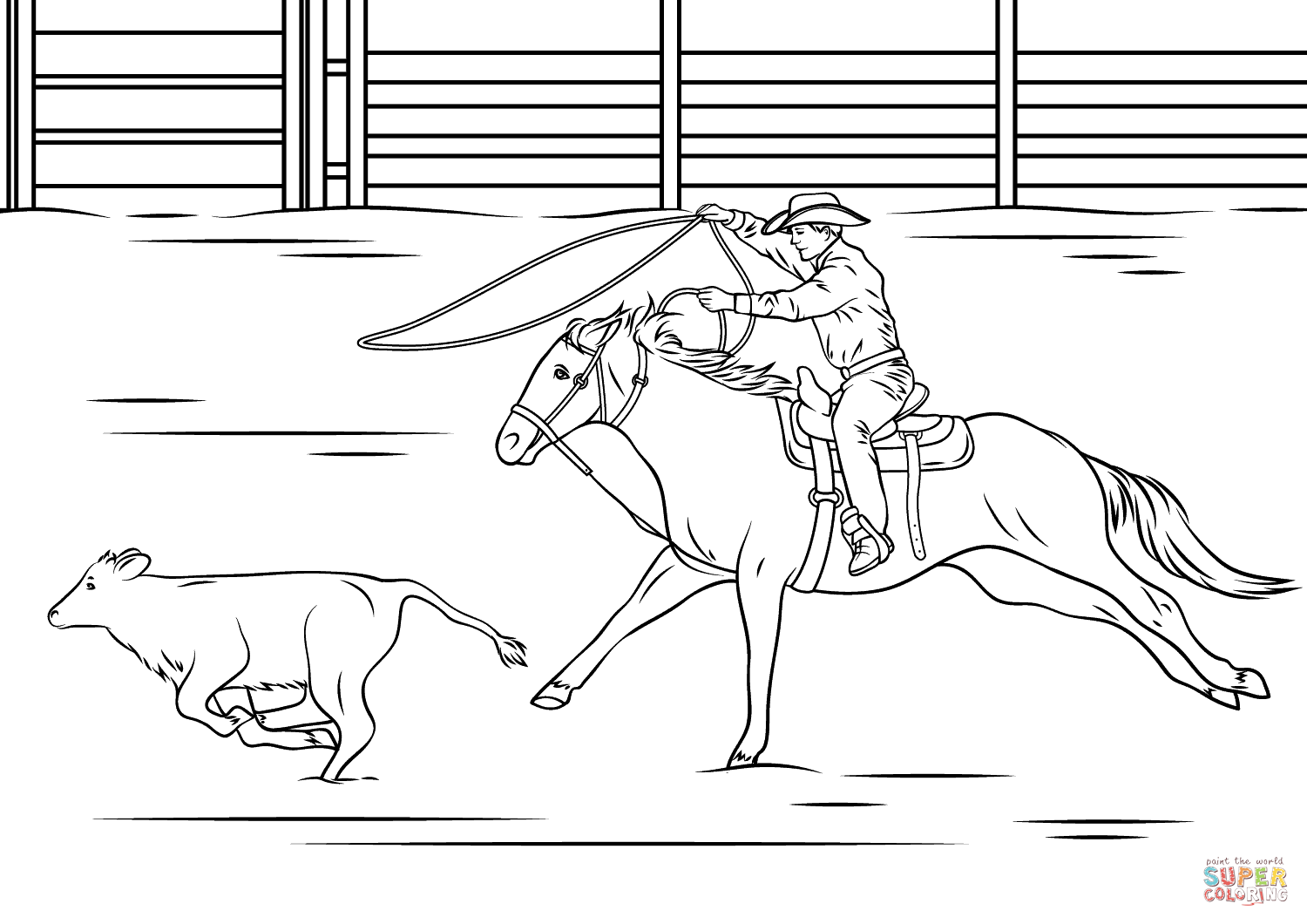 Calf Roping Rodeo Coloring Page From Rodeo Category Select From 27041 Printable Crafts Of Cartoons Nature Calf Roping Horse Coloring Pages Cow Coloring Pages