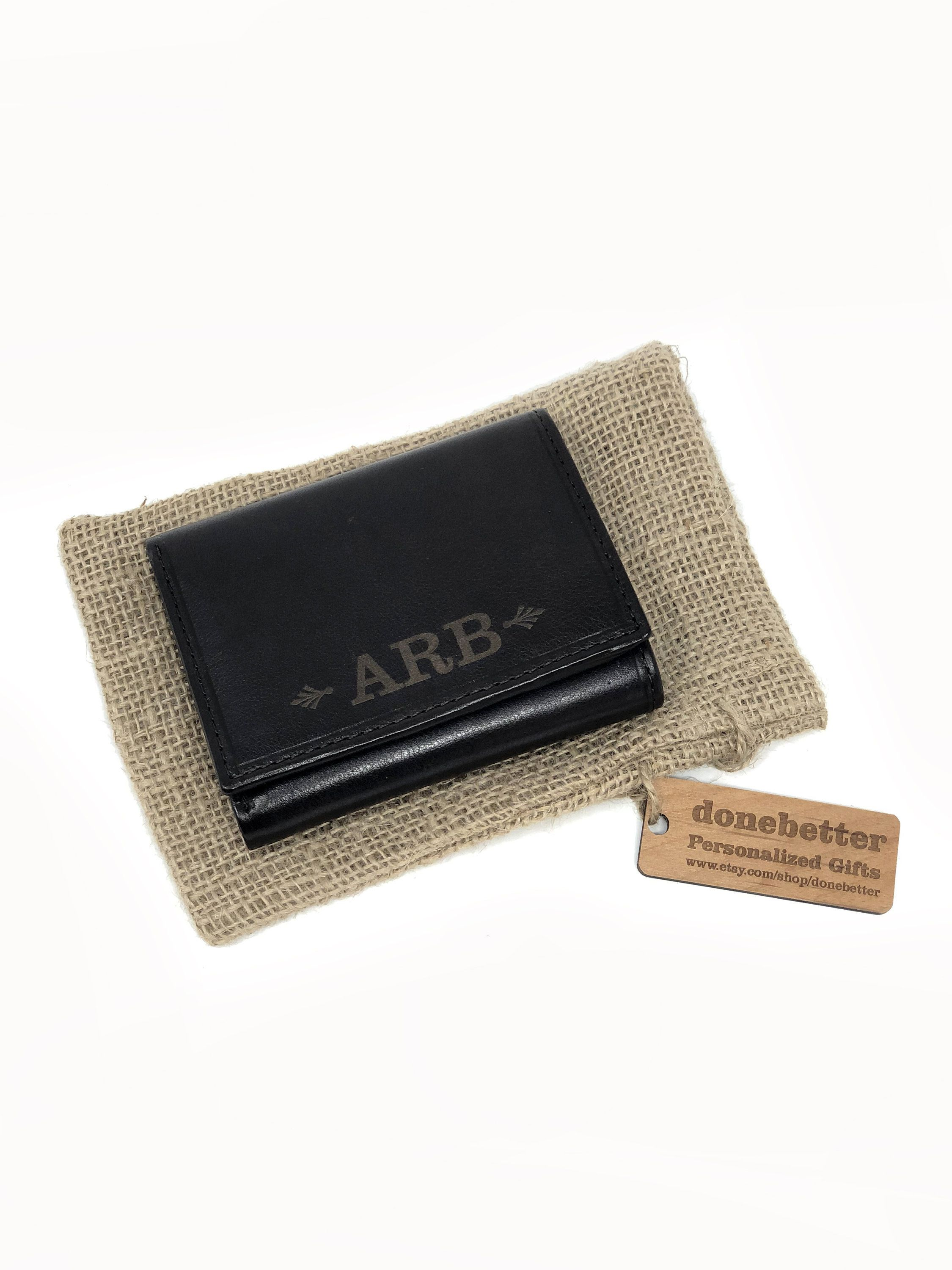 Personalised  Leather Wallet Tan valentine Birthday Day Retirement  RFID Inc