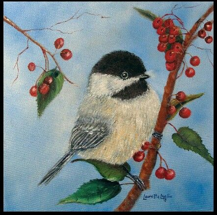 Black Capped Chickadee And Winterberries By Loretta Fineartamerica Bemalte Vogel Vogel Kunst Kunstproduktion