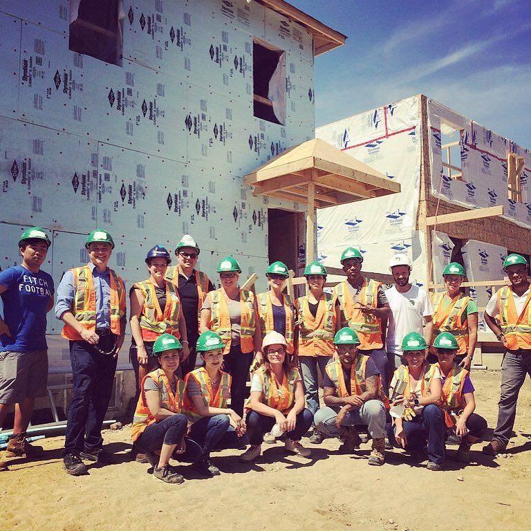 Giving a hand up! Some of the Toronto Home Show team taking part in the @bildgta build day!  way to go a hot one today @habitatgta