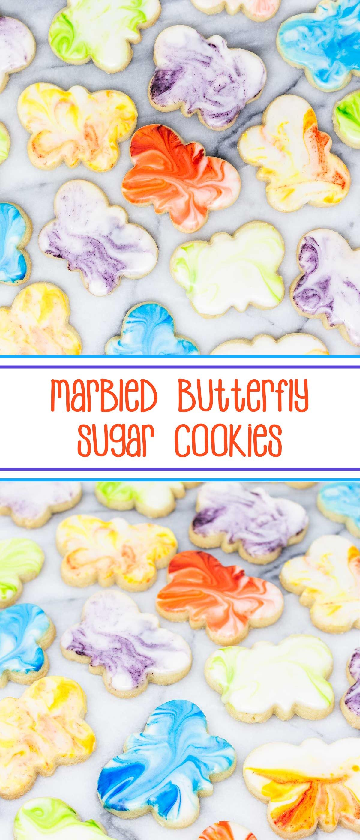 Marbled Butterfly Sugar Cookies - your favorite sugar cookies cut into butterfly shapes and frosted with marbleized royal icing; perfect spring Mother's Day cookies. #mothersdaycookies #decoratedcookies #sugarcookies #cutoutsugarcookies #butterflysugarcookies #marbledsugarcookies via @SarahsBakeStudio