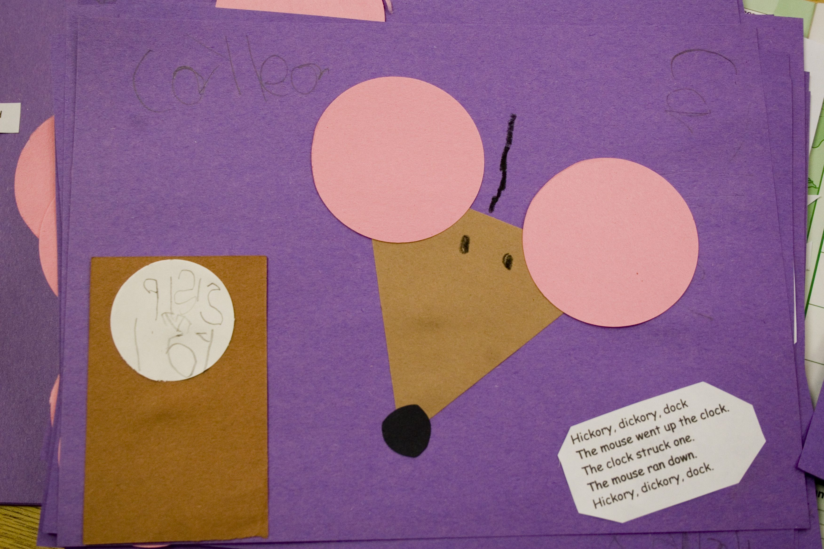 Shape Hickory Dickory Dock craft: uses circles, triangle and ...