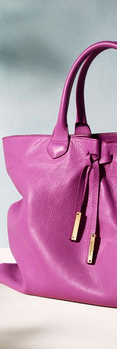 Women's leather tote bag in damson pink from the Burberry S/S14 accessories collection.