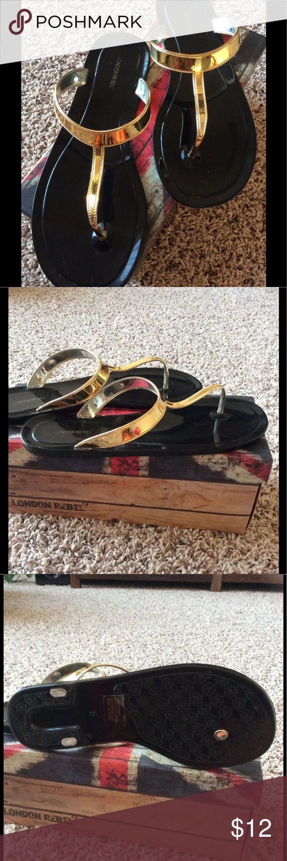 🇬🇧 London Rebel Flip Flops Black and gold plastic flip flops. Hard, flexible plastic. Fit true to size. Great for the pool or beach. Excellent condition. London Rebel Shoes Sandals