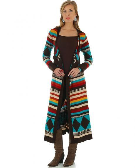 c913cb0e2d Wrangler Women s Long Bright Aztec Cardigan
