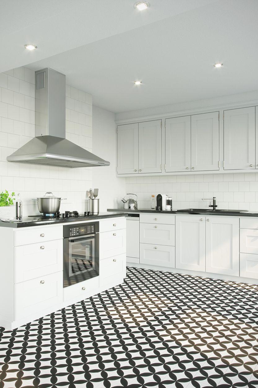 Retromix Circle Large Black Patterned Tiles London Tile Co White Kitchen Floor Black And White Tiles White Tile Floor