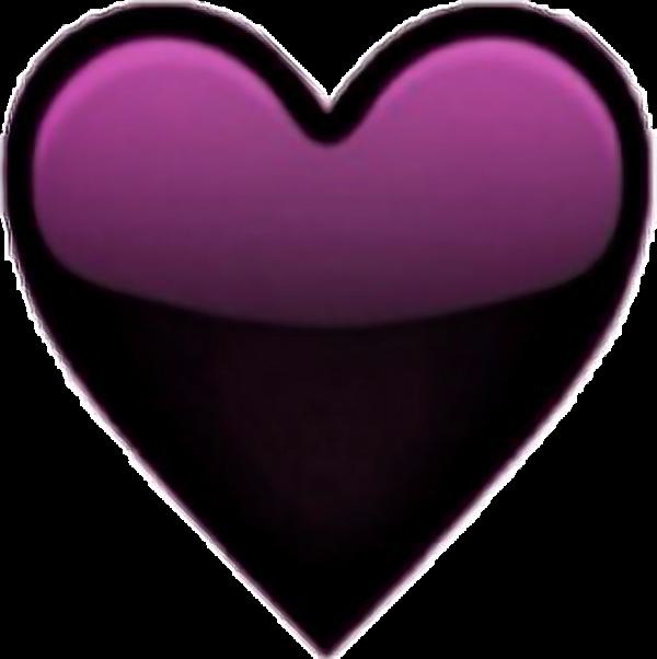 Purple Heart Emoji Transparent Black Tumblr Cool Sticker Heart Emoji Purple Emoji Free Clip Art