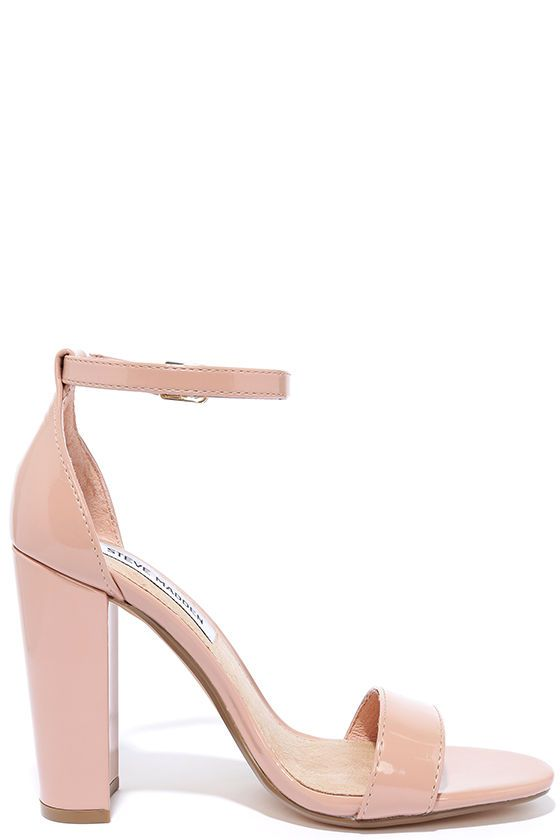 ba080f0cb0f The Steve Madden Carrson Blush Patent Ankle Strap Heels are on fire with a  simple design that is a total knockout! Soft