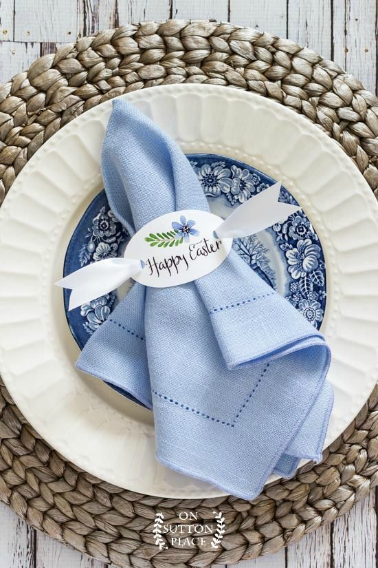 Happy Easter Napkin Rings Free Printable On Sutton Place Easter Table Decorations Easter Napkins Easter Tablescapes