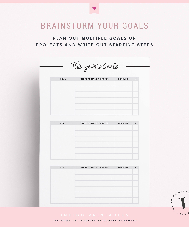 Goal Planner Goal Worksheet Planner Kit Goal Planning