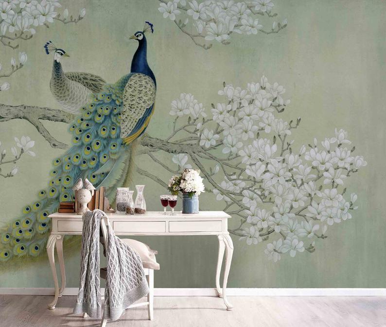 3d Magnolia Floral Peacock Wallpaper Mural Peel And Stick Etsy In 2021 Mural Wallpaper Wall Wallpaper Peacock Wallpaper