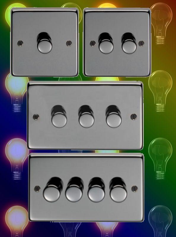 Black Nickel Dimmer Switch Light Switch 1 2 3 4 Gang 40 250 Watt Range Light Switch Dimmer Switch Dimmer