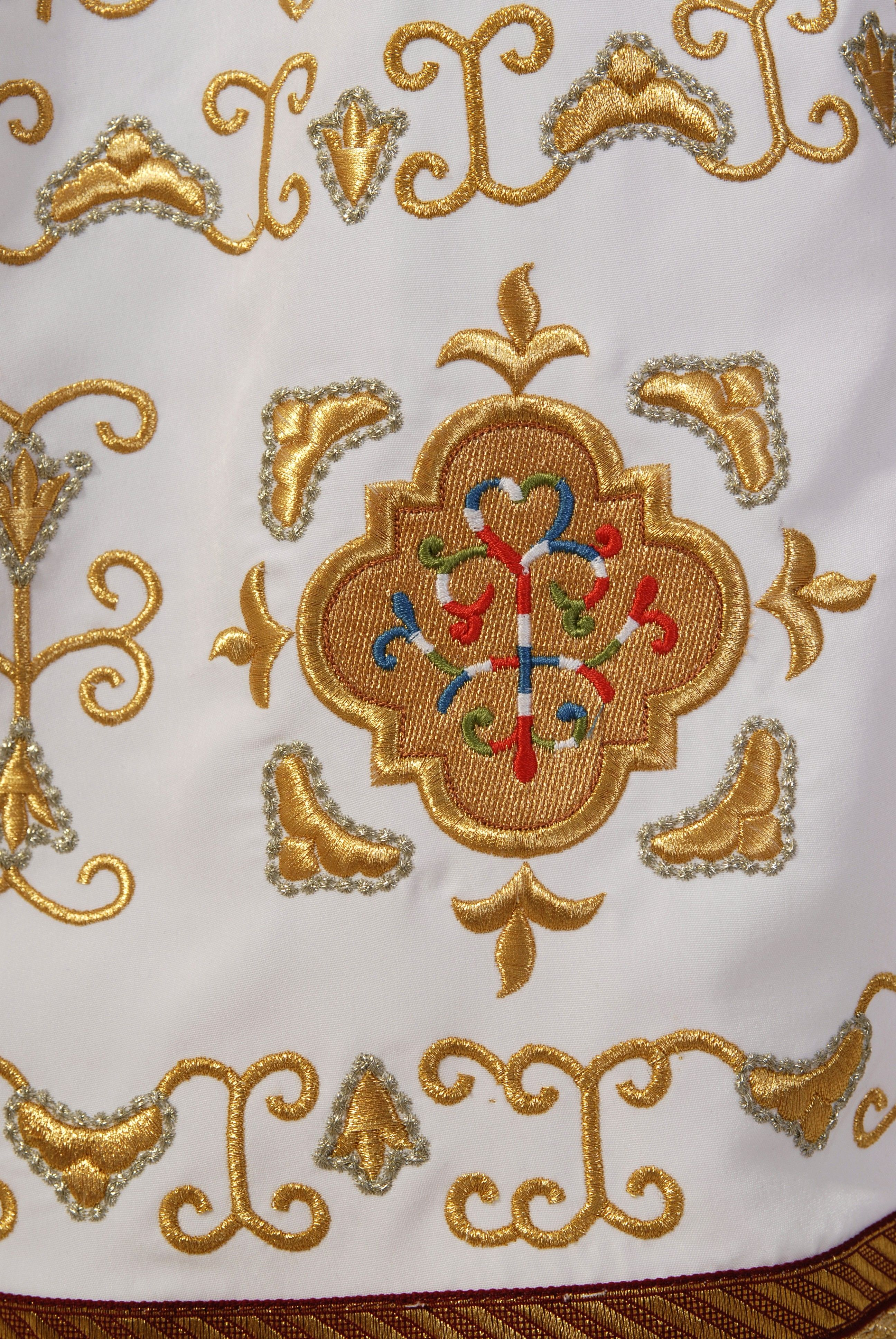 #CatalogofGoodDeed #Priest #Sticharion #white #gold #embroidery #sewing  #polyviscose #church #orthodox #details #goldwork #cross #handmade