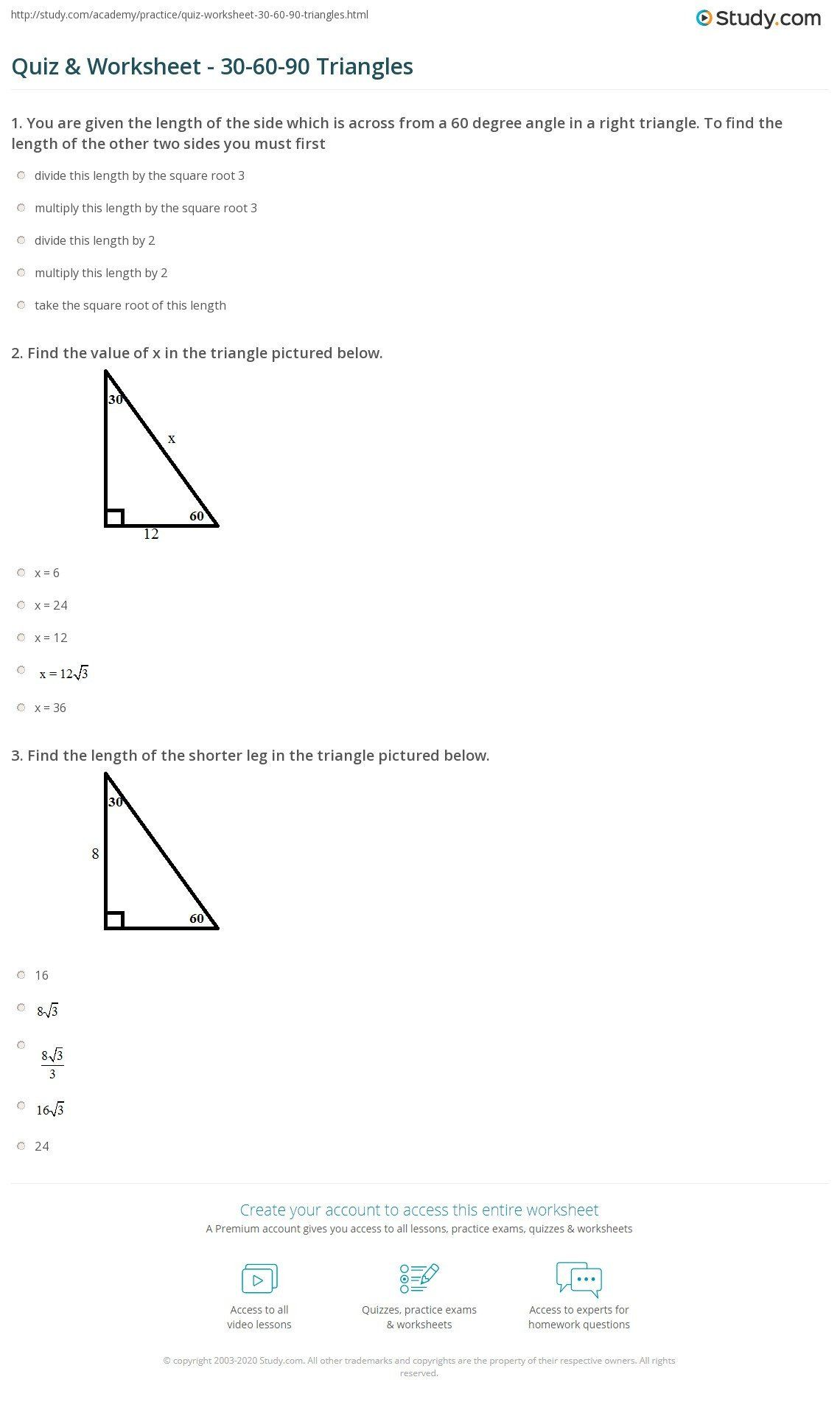 Special Right Triangle Worksheet 5 8 Homework 30 60 90 Triangles Key Triangle Worksheet Practices Worksheets Right Triangle