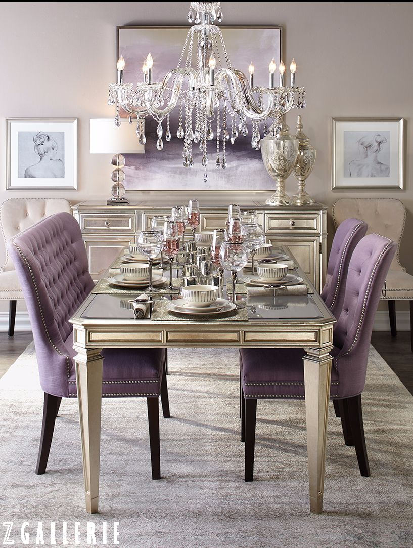 transitional dining room. lavender tufted chairs and sette, silver finish furniture. crystal chandeli…   Purple dining room, Elegant dining room, Dining room design