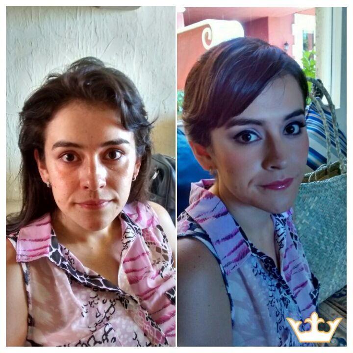 Airbrush makeup in Playa del Carmen. Beautiful before and after for a lovely bridesmaid.