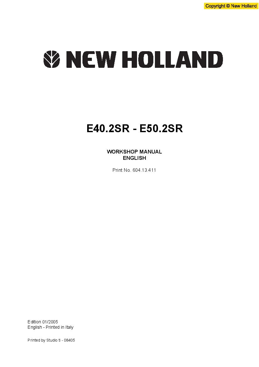 New Holland E40 2sr E50 2sr Mini Crawler Excavator Workshop Repair Service Manual Pdf Downloa In 2020 New Holland Manual Repair