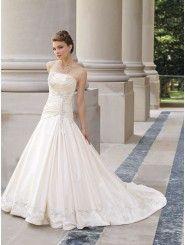 A-line Taffeta Crisscross Woven Bodice Strapless Neckline Chapel Length Train Wedding Dresses (ST1905)