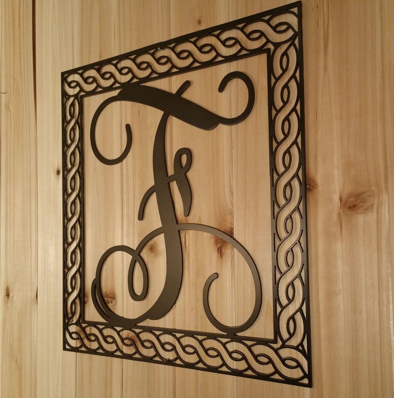 Wall Hanging Metal Vine Monogram Initial With Detailed Rope Border Vine Monogram Vine Font Wall Hanging